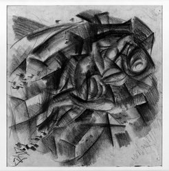 Otto Dix (German, 1891-1969). <em>Lovers (recto and verso)</em>, 1917. Charcoal on laid paper, Sheet: 15 3/16 x 15 7/8 in. (38.6 x 40.3 cm). Brooklyn Museum, A. Augustus Healy Fund, 65.23.1a-b. © artist or artist's estate (Photo: Brooklyn Museum, 65.23.1_acetate_bw.jpg)