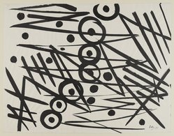 Ernst Wilhelm Nay (German, 1902-1968). <em>Composition 1954</em>, 1954. Brush, 19 1/4 × 24 3/4 in. (48.9 × 62.9 cm). Brooklyn Museum, A. Augustus Healy Fund, 65.23.4. © artist or artist's estate (Photo: Brooklyn Museum, 65.23.4_PS4.jpg)