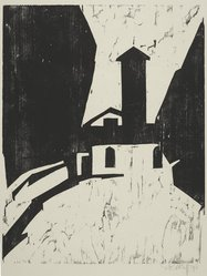 Karl Schmidt-Rottluff (German, 1884-1976). <em>Villa with Tower (Villa mit Turm)</em>, 1911. Woodcut on wove paper, image: 19 11/16 x 15 1/2 in. (50 x 39.4 cm). Brooklyn Museum, A. Augustus Healy Fund, 65.23.7. © artist or artist's estate (Photo: Brooklyn Museum, 65.23.7_PS2.jpg)