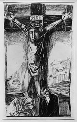 Otto Dix (German, 1891-1969). <em>Crucifixion (Kreuzigung)</em>, 1949. Lithograph on heavy wove paper, Image: 22 11/16 x 13 1/2 in. (57.6 x 34.3 cm). Brooklyn Museum, A. Augustus Healy Fund, 65.27.1. © artist or artist's estate (Photo: Brooklyn Museum, 65.27.1_acetate_bw.jpg)