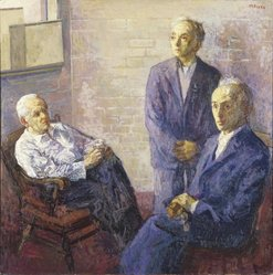 Moses Soyer (American, born Russia, 1899-1974). <em>Three Brothers</em>. Oil on canvas, 59 x 59 in. (149.9 x 149.9 cm). Brooklyn Museum, Gift of Sidney E. Cohn in memory of Vera Boudin Cohn, 65.55. © artist or artist's estate (Photo: Brooklyn Museum, 65.55_reference_SL1.jpg)