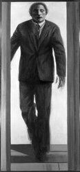 Sidney Goodman (American, 1936-2013). <em>Trilogy I-II-III</em>, 1963-1964. Oil on canvas, 30 x 81 in. (76.2 x 205.7 cm). Brooklyn Museum, John B. Woodward Memorial Fund, 65.59. © artist or artist's estate (Photo: Brooklyn Museum, 65.59_image1_acetate_bw.jpg)