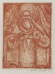 Lola Cueto (Mexican, 1897-1978). <em>Religious Figure with Halo</em>, 1950. Etching Brooklyn Museum, Gift of Mr. and Mrs. Gustave Gilbert, 66.199.11. © artist or artist's estate (Photo: Brooklyn Museum, 66.199.11_PS4.jpg)