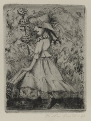 Lola Cueto (Mexican, 1897-1978). <em>Female Dancing Figure in Hat</em>, 1946. Etching and drypoint Brooklyn Museum, Gift of Mr. and Mrs. Gustave Gilbert, 66.199.1. © artist or artist's estate (Photo: Brooklyn Museum, 66.199.1_PS4.jpg)