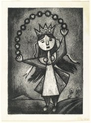 Lola Cueto (Mexican, 1897-1978). <em>Figure with Crown</em>, 1959. Etching (aquatint and soft ground) Brooklyn Museum, Gift of Mr. and Mrs. Gustave Gilbert, 66.199.4. © artist or artist's estate (Photo: Brooklyn Museum, 66.199.4_PS2.jpg)