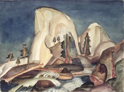 Marguerite Thompson Zorach (American, 1887-1968). <em>Half Dome, Yosemite Valley, California</em>, 1920. Watercolor over graphite on off-white, moderately thick, slightly textured, wove paper mounted to off-white wove paper, 10 x 13 3/8 in. (25.4 x 34 cm). Brooklyn Museum, Gift of Mr. and Mrs. Tessim Zorach, 66.234. © artist or artist's estate (Photo: Brooklyn Museum, 66.234.jpg)