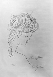 Jean Cocteau (French, 1889-1963). <em>Profile d'Ange</em>, 1960. Lithograph on wove paper, 22 x 14 3/4 in. (55.9 x 37.5 cm). Brooklyn Museum, Gift of Mr. and Mrs. Joe Seldin, 66.39. © artist or artist's estate (Photo: Brooklyn Museum, 66.39_acetate_bw.jpg)