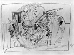 Willy Meyer (German, born 1934). <em>Untitled</em>, 1966. Crayon on paper, 21 1/4 x 30 in. (54 x 76.2 cm). Brooklyn Museum, Gift of Margarete Schultz, 66.93.1. © artist or artist's estate (Photo: Brooklyn Museum, 66.93.1_acetate_bw.jpg)