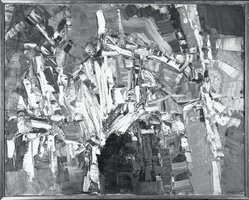 Jean-Paul Riopelle (Canadian, 1923-2002). <em>Untitled (thickly painted abstract)</em>, 1957. Oil on canvas, 28 3/4 x 36 in. (73 x 91.4 cm). Brooklyn Museum, Gift of Arthur Wiesenberger, 67.204.3. © artist or artist's estate (Photo: Brooklyn Museum, 67.204.3_bw.jpg)