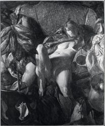 Ben Kamihira (American, 1925-2004). <em>The Mirror</em>. Oil on canvas, 67 x 58 in. (170.2 x 147.3 cm). Brooklyn Museum, Gift of Mr. and Mrs. John Koch, 67.235. © artist or artist's estate (Photo: Brooklyn Museum, 67.235_bw.jpg)