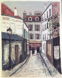 Maurice Utrillo (French, 1883-1955). <em>Street in Belleville (Rue à Belleville)</em>, 1922. Transparent and opaque watercolor on laid paper, 9 3/8 x 7 3/8 in. (23.8 x 18.7 cm). Brooklyn Museum, Bequest of Laura L. Barnes, 67.24.20. © artist or artist's estate (Photo: Brooklyn Museum, 67.24.20.jpg)