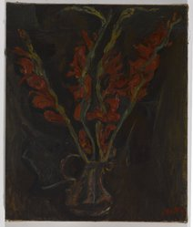Chaim Soutine (Russian, active in France, 1893-1943). <em>Still Life, Gladiolas</em>, ca. 1919. Oil on canvas, 21 3/4 x 18 1/4 in. (55.2 x 46.4 cm). Brooklyn Museum, Bequest of Laura L. Barnes, 67.24.24. © artist or artist's estate (Photo: Brooklyn Museum, 67.24.24_PS9.jpg)
