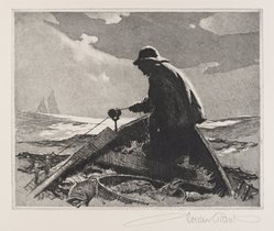 Gordon Grant (American, 1875-1962). <em>Banks Fisherman</em>, ca. 1940. Etching and aquatint on wove paper, Plate: 8 x 10 in. (20.3 x 25.4 cm). Brooklyn Museum, Gift of Mrs. Harold J. Baily, 67.27.4. © artist or artist's estate (Photo: Brooklyn Museum, 67.27.4_PS4.jpg)