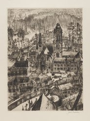 Samuel Chamberlain (American, 1895-1975). <em>Church and Market Place</em>, 1930. Drypoint, 9 x 6 1/2 in. (22.9 x 16.5 cm). Brooklyn Museum, Gift of Mrs. Harold J. Baily, 67.27.5. © artist or artist's estate (Photo: Brooklyn Museum, 67.27.5_PS4.jpg)