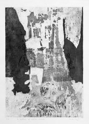 Nilda Sanchez. <em>La Exaltacion del Cabellero Dormido</em>, 1964. Intaglio on paper, image: 19 1/4 x 13 5/8 in. (48.9 x 34.6 cm). Brooklyn Museum, Gift of Emilio Sanchez, 67.34.1. © artist or artist's estate (Photo: Brooklyn Museum, 67.34.1_acetate_bw.jpg)