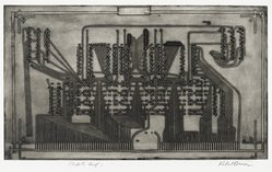 Robert Broner (American, born 1922). <em>Power Plant</em>, 1967. Intaglio on paper, 10 1/2 x 17 3/4 in. (26.7 x 45.1 cm). Brooklyn Museum, Dick S. Ramsay Fund, 67.37. © artist or artist's estate (Photo: Brooklyn Museum, 67.37_PS2_PS2.jpg)