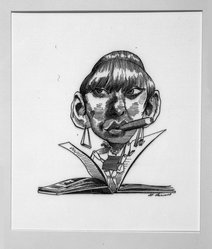 David Levine (American, 1926-2009). <em>Gore Vidal as His Heroine Myra Breckenridge</em>, 1968. Ink on board, 13 3/4 x 11 in. (34.9 x 27.9 cm). Brooklyn Museum, Gift of the artist, 68.100.4. © artist or artist's estate (Photo: Brooklyn Museum, 68.100.4_bw.jpg)