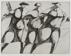 John Fenton (American, 1912-1977). <em>Women Walking</em>, 1967. Etching, 8 7/8 x 11 3/4 in. (22.5 x 29.8 cm). Brooklyn Museum, Dick S. Ramsay Fund, 68.13.1. © artist or artist's estate (Photo: Brooklyn Museum, 68.13.1_PS2.jpg)