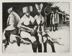 John Fenton (American, 1912-1977). <em>Ladies of the Corridor</em>, 1967. Etching, 8 7/8 x 11 3/4 in. (22.5 x 29.8 cm). Brooklyn Museum, Dick S. Ramsay Fund, 68.13.2. © artist or artist's estate (Photo: Brooklyn Museum, 68.13.2_PS2.jpg)