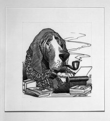 David Levine (American, 1926-2009). <em>Detective Stories</em>, 1968. Ink on board, 13 3/4 x 11 in. (34.9 x 27.9 cm). Brooklyn Museum, Gift of the artist, 68.224.24. © artist or artist's estate (Photo: Brooklyn Museum, 68.224.24_bw.jpg)