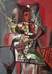 Paul Burlin (American, 1886-1969). <em>Homunculus</em>, 1947. Oil on canvas, 42 1/8 x 29 7/8 in. (107 x 75.9 cm). Brooklyn Museum, Gift of the Edith and Milton Lowenthal Foundation, Inc., 68.31. © artist or artist's estate (Photo: Brooklyn Museum, 68.31.jpg)