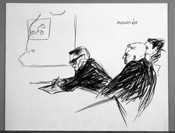 Arnold Mesches (American, 1923-2016). <em>Pueblo Hearings</em>, 1969. Pen and crayon on paper, 14 5/8 x 18 1/2 in. (37.1 x 47 cm). Brooklyn Museum, Bristol-Myers Fund, 69.141.1. © artist or artist's estate (Photo: Brooklyn Museum, 69.141.1_bw.jpg)