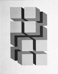 Jose Maria Yturalde (Spanish, born 1942). <em>Untitled</em>, 1968. Serigraph on board, 12 x 7 3/4 in. (30.5 x 19.7 cm). Brooklyn Museum, Gift of the Museo de Arte Abstracto Español through D. Fernando Zobel, 69.28.14. © artist or artist's estate (Photo: Brooklyn Museum, 69.28.14_bw.jpg)