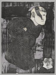 Jose Luis Cuevas (Mexican, 1934-2017). <em>El Santo de la Guerra (Saint of War)</em>, 1969. Lithograph, Sheet (image): 30 x 22 1/2 in. (76.2 x 57.2 cm). Brooklyn Museum, A. Augustus Healy Fund and Bristol-Myers Fund, 69.89.13. © artist or artist's estate (Photo: , 69.89.13_PS4.jpg)