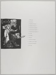 Jose Luis Cuevas (Mexican, 1934-2017). <em>Table of Contents</em>, 1969. Lithograph with text, Sheet: 30 1/8 x 22 1/4 in. (76.5 x 56.5 cm). Brooklyn Museum, A. Augustus Healy Fund and Bristol-Myers Fund, 69.89.15. © artist or artist's estate (Photo: , 69.89.15_PS4.jpg)