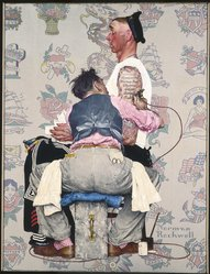 Norman Rockwell (American, 1894-1978). <em>The Tattoo Artist</em>, 1944. Oil on canvas, 43 1/8 x 33 1/8 in. (109.5 x 84.1 cm). Brooklyn Museum, Gift of the artist, 69.8. © artist or artist's estate (Photo: Brooklyn Museum, 69.8_SL1.jpg)