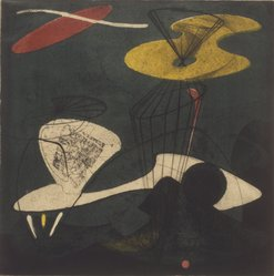 Tom Lias (American, 1903-1960). <em>Objects in Space</em>, 1947. Intaglio on wove paper, Plate: 14 x 14 1/2 in. (35.6 x 36.8 cm). Brooklyn Museum, Gift of The Museum of Modern Art, 70.113.4. © artist or artist's estate (Photo: Brooklyn Museum, 70.113.4.jpg)
