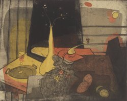 Tom Lias (American, 1903-1960). <em>Feminine Still Life</em>, 1947. Intaglio on wove paper, image: 11 15/16 x 14 15/16 in. (30.3 x 38 cm). Brooklyn Museum, Gift of The Museum of Modern Art, 70.113.5. © artist or artist's estate (Photo: Brooklyn Museum, 70.113.5.jpg)