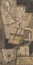 Tom Lias (American, 1903-1960). <em>Abstract No. Two</em>, 1947. Engraving on light board, 8 3/4 x 4 5/8 in. (22.2 x 11.7 cm). Brooklyn Museum, Gift of The Museum of Modern Art, 70.113.6. © artist or artist's estate (Photo: Brooklyn Museum, 70.113.6.jpg)