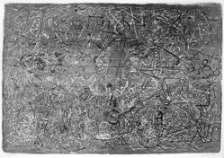Mark Tobey (American, 1890-1976). <em>Flight Over Forms</em>, 1966. Lithograph on paper, 18 1/4 x 26 1/2 in. (46.4 x 67.3 cm). Brooklyn Museum, Bristol-Myers Fund, 70.117. © artist or artist's estate (Photo: Brooklyn Museum, 70.117_bw.jpg)