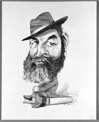 David Levine (American, 1926-2009). <em>Randal Jarrell</em>, 1967. Pen and ink on paper, 13 5/8 x 11 in. (34.6 x 27.9 cm). Brooklyn Museum, Gift of David Levine, 70.13.8. © artist or artist's estate (Photo: Brooklyn Museum, 70.13.8_bw.jpg)