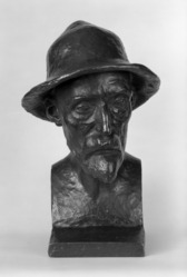 Aristide Maillol (French, 1861-1944). <em>Bust of Renoir</em>, Model completed: 1907. Bronze, 16 x 11 1/2 x 12 in. (40.6 x 29.2 x 30.5 cm). Brooklyn Museum, Gift of Mr. and Mrs. Richard Rodgers, 70.176.6. © artist or artist's estate (Photo: Brooklyn Museum, 70.176.6_front_bw.jpg)