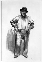 Burton Philip Silverman (American, born 1928). <em>Shopkeeper</em>, 1960. Charcoal on paper, sheet: 19 x 12 3/4 in. (48.3 x 32.4 cm). Brooklyn Museum, Gift of Harvey Dinnerstein, 70.179. © artist or artist's estate (Photo: Brooklyn Museum, 70.179_bw.jpg)