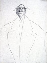 David Levine (American, 1926-2009). <em>Marshall McLuhan</em>, 1968. Pen and ink on paper, 13 x 11 1/2 in. (33 x 29.2 cm). Brooklyn Museum, Dick S. Ramsay Fund, 70.17. © artist or artist's estate (Photo: Brooklyn Museum, 70.17_slide_SL3.jpg)
