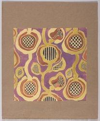 Marguerite Thompson Zorach (American, 1887-1968). <em>(Semi-abstract Floral Design - Yellow on Purple Background)</em>, n.d. Watercolor over graphite on paper mounted to brown paper, Sheet (watercolor): 8 5/8 x 8 9/16 in. (21.9 x 21.7 cm). Brooklyn Museum, Gift of Mr. and Mrs. Tessim Zorach, 70.35.11. © artist or artist's estate (Photo: Brooklyn Museum, 70.35.11_PS9.jpg)
