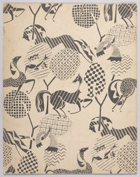 Marguerite Thompson Zorach (American, 1887-1968). <em>(Pattern of Horses, Birds and Geometric Designs - in Black and White)</em>, n.d. India ink over graphite on paperboard, Sheet: 14 1/16 x 11 1/16 in. (35.7 x 28.1 cm). Brooklyn Museum, Gift of Mr. and Mrs. Tessim Zorach, 70.35.7. © artist or artist's estate (Photo: Brooklyn Museum, 70.35.7_PS9.jpg)