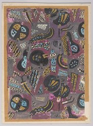 Marguerite Thompson Zorach (American, 1887-1968). <em>(Abstract Design - Gold, Blue, Black on Mauve Background)</em>, 20th century. Watercolor on paper mounted to tan paper and then mounted to paperboard, Sheet (watercolor): 11 7/16 x 8 in. (29.1 x 20.3 cm). Brooklyn Museum, Gift of Mr. and Mrs. Tessim Zorach, 70.35.9. © artist or artist's estate (Photo: Brooklyn Museum, 70.35.9_PS9.jpg)