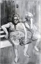 Burton Philip Silverman (American, born 1928). <em>Two Women</em>, 1969. Watercolor and pencile on paper, 15 5/8 x 9 7/8 in. (39.7 x 25.1 cm). Brooklyn Museum, Dick S. Ramsay Fund, 70.69. © artist or artist's estate (Photo: Brooklyn Museum, 70.69_bw.jpg)