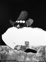 Fritz Scholder (American and Luiseño, 1937-2005). <em>Indian at the Bar</em>, 1970-1971. Lithograph on paper, 30 1/8 x 22 3/8 in. (76.5 x 56.8 cm). Brooklyn Museum, Bristol-Myers Fund, 71.134.1. © artist or artist's estate (Photo: Brooklyn Museum, 71.134.1_bw.jpg)