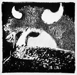 Fritz Scholder (American and Luiseño, 1937-2005). <em>Buffalo Dancer</em>, 1970-1971. Lithograph on paper, sheet: 30 x 22 in. (76.2 x 55.9 cm). Brooklyn Museum, Bristol-Myers Fund, 71.134.4. © artist or artist's estate (Photo: Brooklyn Museum, 71.134.4_bw.jpg)
