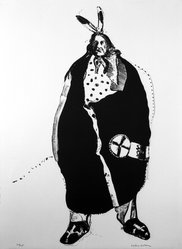 Fritz Scholder (American and Luiseño, 1937-2005). <em>Waiting Indian</em>, 1970-1971. Lithograph on paper, 30 x 22 in. (76.2 x 55.9 cm). Brooklyn Museum, Bristol-Myers Fund, 71.134.6. © artist or artist's estate (Photo: Brooklyn Museum, 71.134.6_bw.jpg)