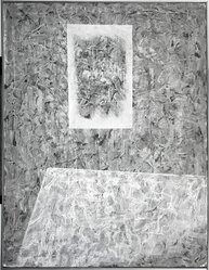 Jimmy Ernst (American, 1920-1984). <em>Non-Fiction</em>, 1950. Oil on canvas, 42 3/4 x 32 3/4 in. (108.6 x 83.2 cm). Brooklyn Museum, Gift of Mr. and Mrs. Warren Brandt, 71.169.1. © artist or artist's estate (Photo: Brooklyn Museum, 71.169.1_bw.jpg)