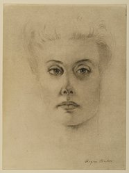 Roger Baker (American, born 1925). <em>Portrait of Mrs. Helene Muensterberger</em>, 1966. Ink and charcoal on paper, sheet: 12 x 9 in. (30.5 x 22.9 cm). Brooklyn Museum, Gift of Dr. and Mrs. Werner Muensterberger, 71.186.1. © artist or artist's estate (Photo: Brooklyn Museum, 71.186.1_PS2.jpg)