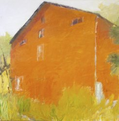 Wolf Kahn (American, 1927-2020). <em>The Red Barn</em>, 1970. Oil on canvas, 51 x 51 in. (129.5 x 129.5 cm) framed. Brooklyn Museum, National Endowment for the Arts Fund, 71.54. © artist or artist's estate (Photo: Brooklyn Museum, 71.54.jpg)