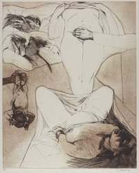 Sigmund Abeles (American, born 1934). <em>Hers (Present & Some of Her Past)</em>, 1968. Etching, Image: 21 1/2 x 17 1/2 in. (54.6 x 44.5 cm). Brooklyn Museum, Gift of the Society of American Graphic Artists in memory of John von Wicht, 71.60.1. © artist or artist's estate (Photo: Brooklyn Museum, 71.60.1_PS9.jpg)