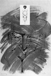 Bernard Pfriem (American, 1916-1996). <em>Artist and Model</em>, 1970-1971. Lithograph on wove paper, Sheet: 41 x 27 1/2 in. (104.1 x 69.9 cm). Brooklyn Museum, Bristol-Myers Fund, 71.61.2. © artist or artist's estate (Photo: Brooklyn Museum, 71.61.2_bw.jpg)